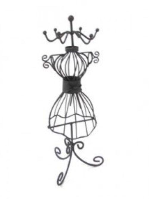 Metalni stalak za nakit crna haljina