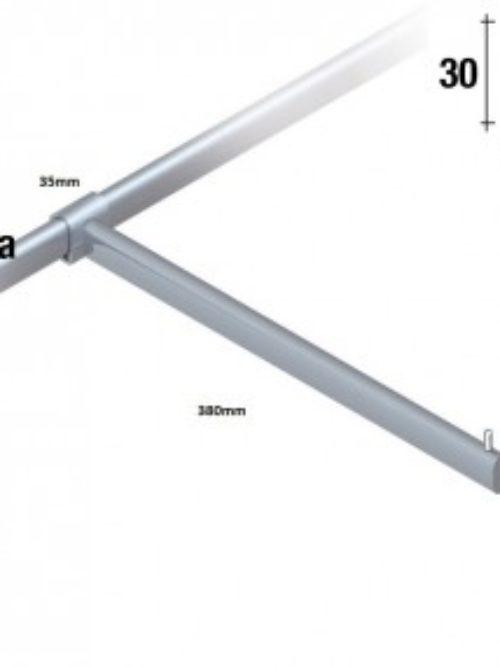 Straight mount for oval tube 38 cm shine