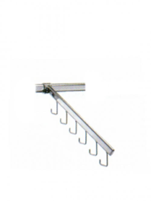 Slanted bar with hooks for hanging