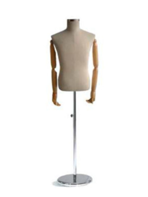 Male mannequin tailor doll with wooden hands
