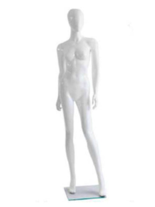 White female mannequin with faceless head
