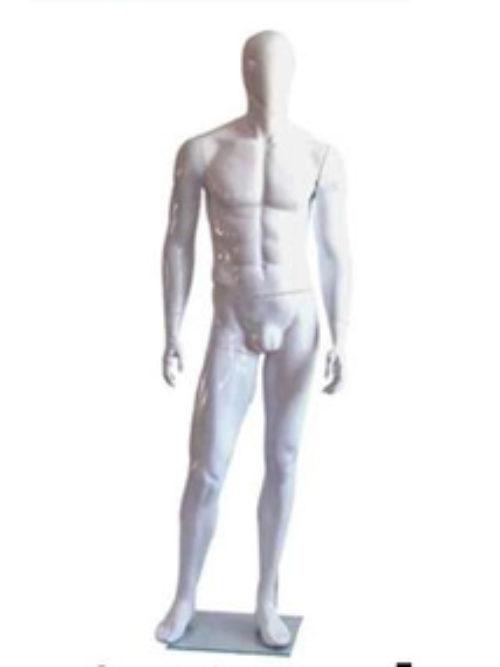 Maneken lutka muška bela mat no face