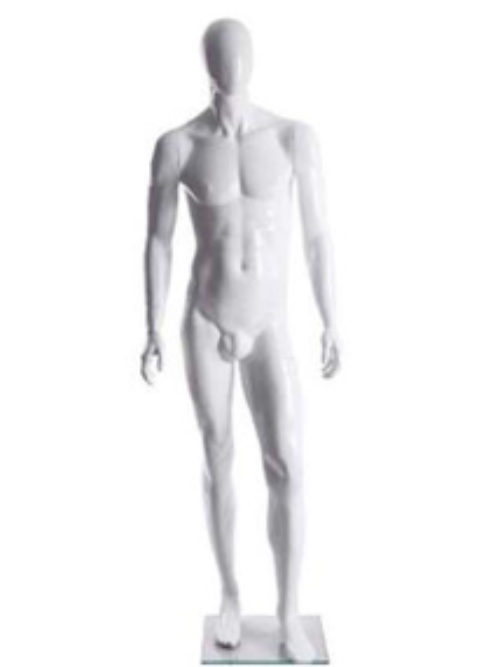 White male mannequin with faceless head