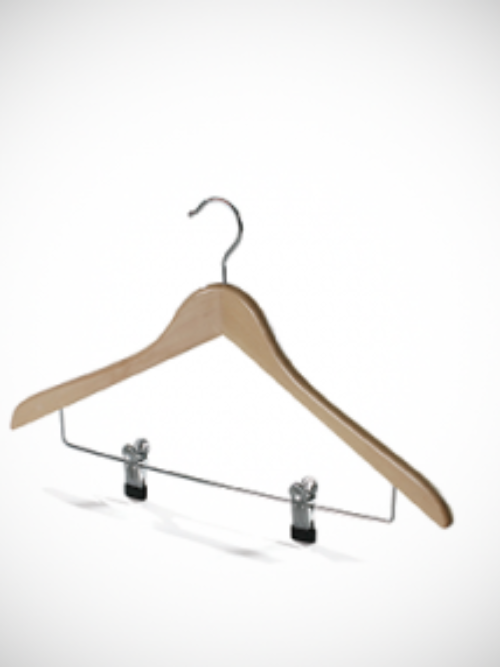 Wooden hanger with clips
