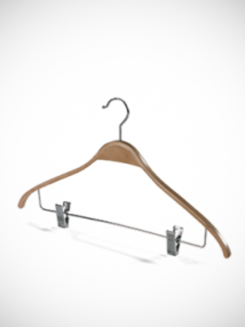 Wooden hanger with clips type 4